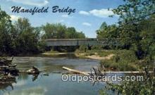 cou100179 - Mansfield, Parke Co, IN USA Covered Bridge Postcard Post Card Old Vintage Antique