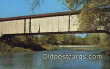 cou100182 - Mansfield, Parke Co, IN USA Covered Bridge Postcard Post Card Old Vintage Antique