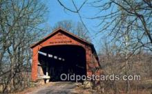 cou100215 - Red Bridge, Parke Co, IN USA Covered Bridge Postcard Post Card Old Vintage Antique