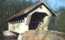 cou100305 - Red Mill, Waupaca, WI USA Covered Bridge Postcard Post Card Old Vintage Antique