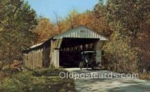 cou100307 - Adams Mill, Carroll Co, IN USA Covered Bridge Postcard Post Card Old Vintage Antique