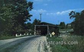 cou100319 - March Road, Ashtabula Co, OH USA Covered Bridge Postcard Post Card Old Vintage Antique