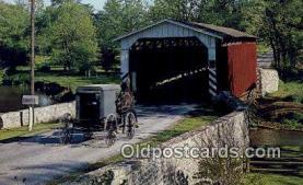 cou100335 - Paradise, Amishland, USA Covered Bridge Postcard Post Card Old Vintage Antique