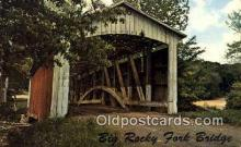 cou100354 - Big Rocky Fork, Mansfield, IN USA Covered Bridge Postcard Post Card Old Vintage Antique