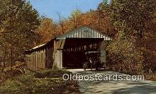 cou100366 - Adams Mill, Carroll Co, IN USA Covered Bridge Postcard Post Card Old Vintage Antique