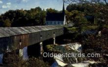 cou100378 - Covered Bridge, New England Covered Bridge Postcard Post Card Old Vintage Antique