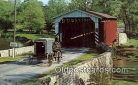 cou100389 - Paradise, Amishland, USA Covered Bridge Postcard Post Card Old Vintage Antique