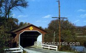 cou100390 - North Bennington, VT USA Covered Bridge Postcard Post Card Old Vintage Antique