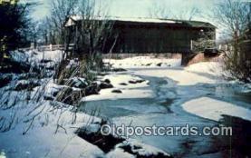 cou100421 - Ashtabula Co, OH USA Covered Bridge Postcard Post Card Old Vintage Antique