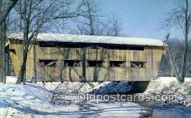 cou100450 - Jasper Road, Greene Co, OH USA Covered Bridge Postcard Post Card Old Vintage Antique