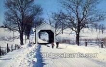 cou100460 - Columbiana Co, OH USA Covered Bridge Postcard Post Card Old Vintage Antique