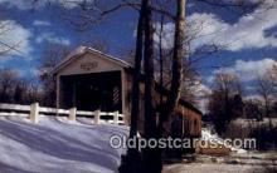 cou100486 - Olin's, Ashtabula, USA Covered Bridge Postcard Post Card Old Vintage Antique