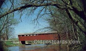 cou100511 - Parker Bridge, Wyandot Co, OH USA Covered Bridge Postcard Post Card Old Vintage Antique