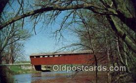 cou100512 - Parker Bridge, Wyandot Co, OH USA Covered Bridge Postcard Post Card Old Vintage Antique