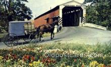 cou100525 - Amish Country, PA USA Covered Bridge Postcard Post Card Old Vintage Antique