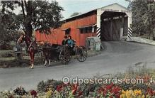 cou100809 - Covered Bridge Vintage Postcard
