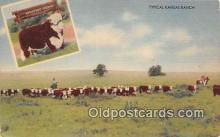 cow000054 - Typical Kansas Ranch Kansas, USA Postcard Post Card