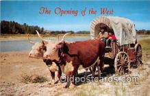 cow000105 - Ox Team & Covered Wagon Canestota Wason Postcard Post Card