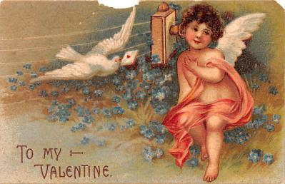 dam002005 - Valentines Day Post Card Old Vintage Antique Postcard