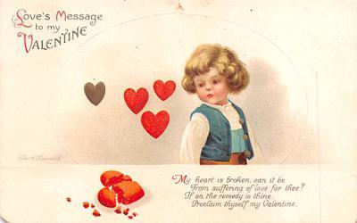 dam002009 - Valentines Day Post Card Old Vintage Antique Postcard