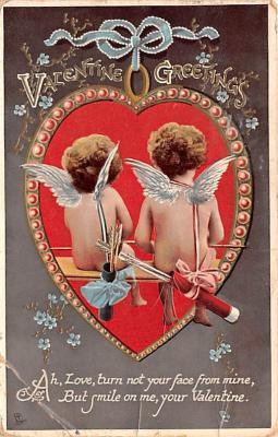 dam002045 - Valentines Day Post Card Old Vintage Antique Postcard