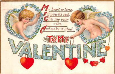 dam002049 - Valentines Day Post Card Old Vintage Antique Postcard