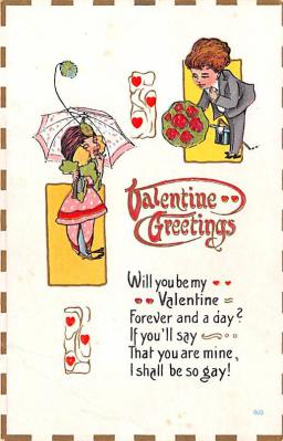 dam002053 - Valentines Day Post Card Old Vintage Antique Postcard