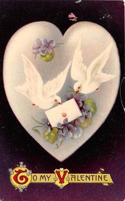 dam002135 - Valentines Day Post Card Old Vintage Antique Postcard