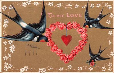 dam002361 - Valentines Day Post Card Old Vintage Antique Postcard