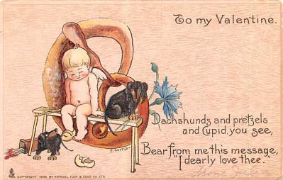 dam002395 - Valentines Day Post Card Old Vintage Antique Postcard