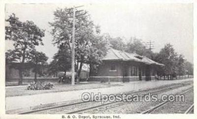 dep001004 - B & O Depot, Syracuse, IN USA Locomotive Train Railroad Depot Post Card Post Card
