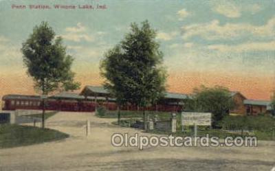 dep001009 - Penn Station, Wionna Lake, IN USA Locomotive Train Railroad Depot Post Card Post Card
