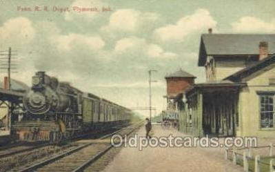 dep001015 - Penn RR depot, Plymouth, IN USA Train Railroad Station Depot Post Card Post Card