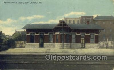 dep001017 - Penn Depot, New Albany, IN USA Train Railroad Station Depot Post Card Post Card