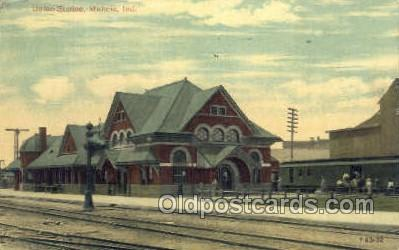 dep001019 - Union Station, Muncie, IN USA Train Railroad Station Depot Post Card Post Card