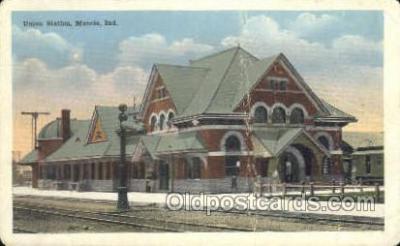 dep001021 - Union Station, Muncie, IN USA Train Railroad Station Depot Post Card Post Card