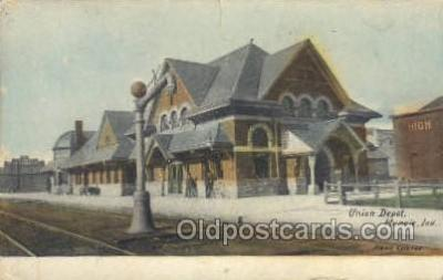 dep001029 - Union Depot, Muncie, IN USA Train Railroad Station Depot Post Card Post Card