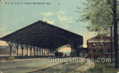 dep001035 - PCC and St L Depot, Richmond, IN USA Train Railroad Station Depot Post Card Post Card