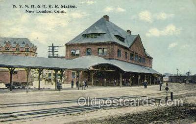 dep001100 - NYNH and HRR Station, New London, CT USA Train Railroad Station Depot Post Card Post Card