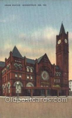 dep001334 - Union Station, Indianapolis, IN, Indiana USA Train Railroad Station Depot Post Card Post Card