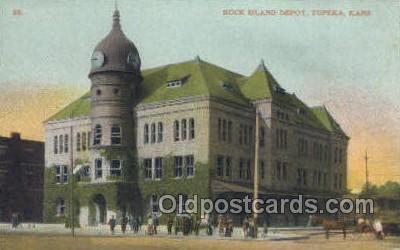 dep001352 - Rock Island Depot, Topeka, KS, Kansas, USA Train Railroad Station Depot Post Card Post Card