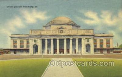 dep001369 - Union Station, Richmond, VA, Virginia, USA Train Railroad Station Depot Post Card Post Card