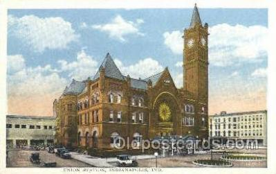 dep001453 - Union Station, Indianapolis, IN, Indiana USA Train Railroad Station Depot Post Card Post Card