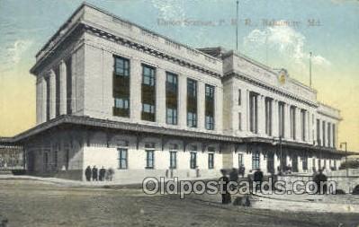 dep001540 - Union Station PRR, Baltimore, MD, Maryland, USA Train Railroad Station Depot Post Card Post Card