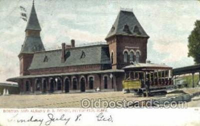 dep001544 - RR Depot, Pittsfield, MA, Massachusetts, USA Train Railroad Station Depot Post Card Post Card