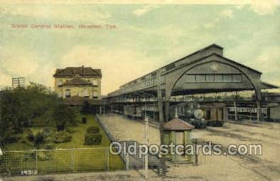 dep001555 - Grand Central Station, Huston, TX, Texas, USA Train Railroad Station Depot Post Card Post Card