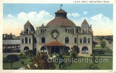 dep001558 - I and G N Depot, San Antonio, TX, Texas, USA Train Railroad Station Depot Post Card Post Card