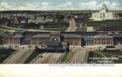 dep001573 - NYNH and H Station, Providence,  RI , Rhode island, USA Train Railroad Station Depot Post Card Post Card
