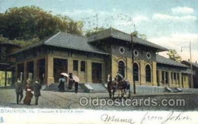 dep001589 - Chesapeake and Ohio, RR Depot, Staunton, VA, Virginia, USA Train Railroad Station Depot Post Card Post Card