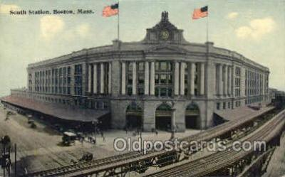 dep001649 - South Station, Boston, MA, Massachusetts, USA Train Railroad Station Depot Post Card Post Card